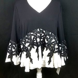 NWT INA Lace Black Lace Blouse